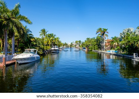 Typical waterfront community in South Florida. - stock photo