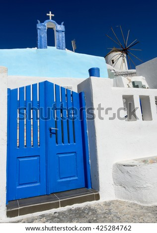 Typical white and blue view of the village  Oia Santorini. Greece - stock photo