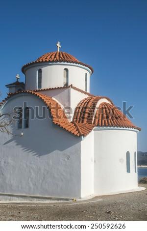 Typical white Greek church. Greece, Gythio - stock photo