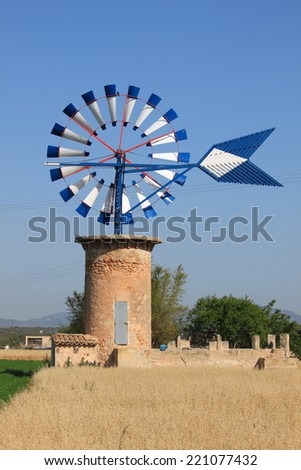 Typical windmill in Majorca, Spain - stock photo