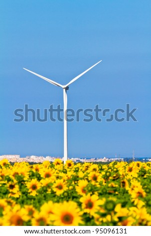 Typical windmill or aerogenerator of aeolian energy and a field of sunflowers