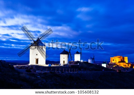 Typical windmills of  Region of Castilla la Mancha - stock photo
