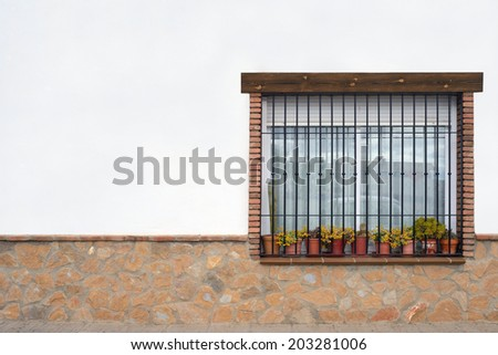 Typical window in a house - stock photo