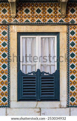 Typical window of old architecture in Lisbon Portugal - stock photo