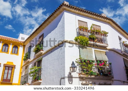 Typical windows with grilles and decorative flowers in the city of Cordoba, Spain - stock photo