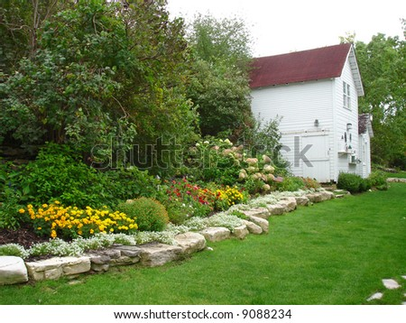 Typical Wisconsin Backyard Flower Garden, Door County - stock photo