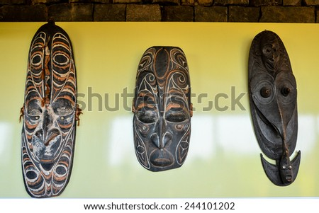 Typical Wooden Face Mask from Papua New Guinea - stock photo