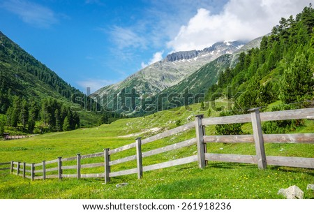 Typical wooden fence for sheep grazing with clean green grass and mountain peaks in background, Zillertal Alps, Mayerhofen, Austria - stock photo