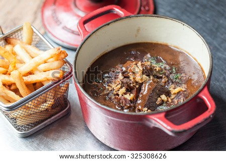 Typically Belgian dish: beef stew with beer 'Carbonades Flamands' - stock photo