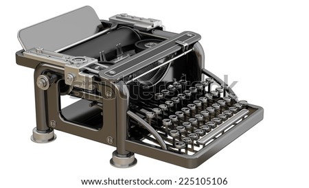 Typing Machine isolated on white background. High resolution 3d