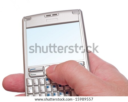 typing on personal digital assistant smartphone isolated on white - stock photo