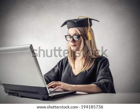 typing student - stock photo