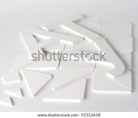 Typographic composition on a white background with a small depth of field