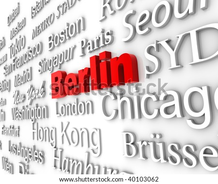 typographical demonstration of big cities - berlin  3d