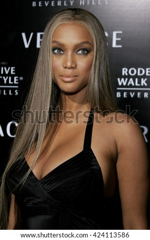 Tyra Banks at the Rodeo Drive Walk Of Style Award honoring Gianni and Donatella Versace held at the Beverly Hills City Hall in Beverly Hills, USA on February 8, 2007. - stock photo