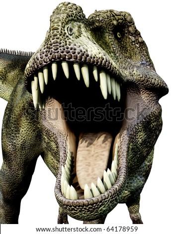 Tyrannosaurus green big mouth - stock photo