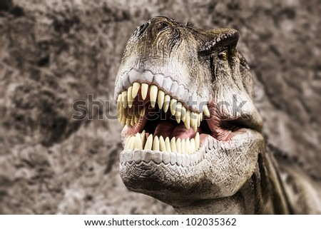 Tyrannosaurus - prehistoric era dinosaur showing his toothy mouth - stock photo