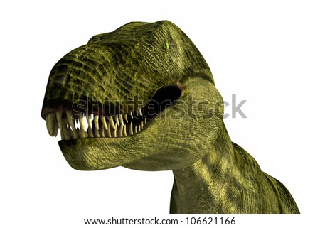 Tyrannosaurus Rex close up realistic rendered on white background - stock photo