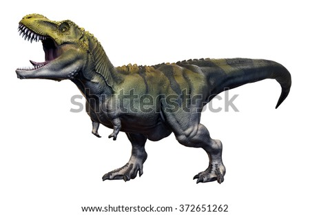 Tyrannosaurus Rex 3D render on isolated white background.