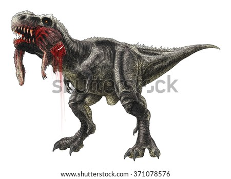 Tyrannosaurus Rex eating a Struthiomimus colored line drawing.