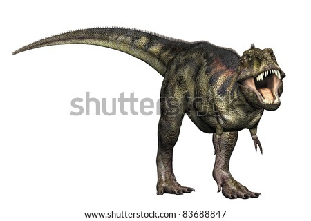 Tyrannosaurus Rex full body Illustration of dinosaur in aggressive challenging position. Isolated, clip art cutout on clean white background. - stock photo