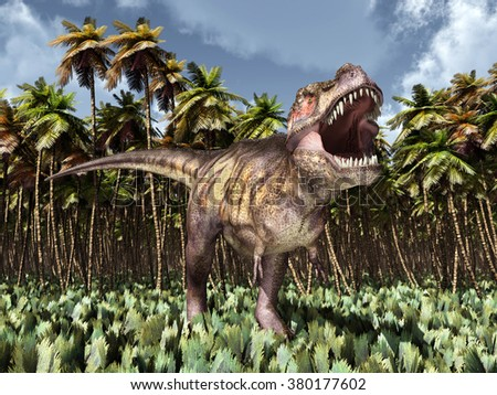 Tyrannosaurus Rex in the jungle Computer generated 3D illustration - stock photo