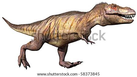 tyrannosaurus running - stock photo