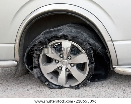 Tyre  accident broken on the way