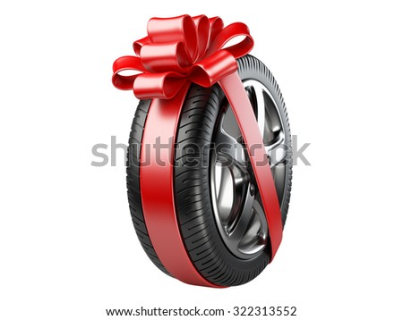 tyre with a wrapped red ribbon and bow. 3D illustration isolated on white background.