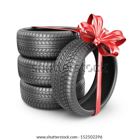 Tyres with a red ribbon. Present. 3D Icon isolated on white background - stock photo