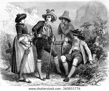 Tyrolean costumes, vintage engraved illustration. Magasin Pittoresque 1857. - stock photo