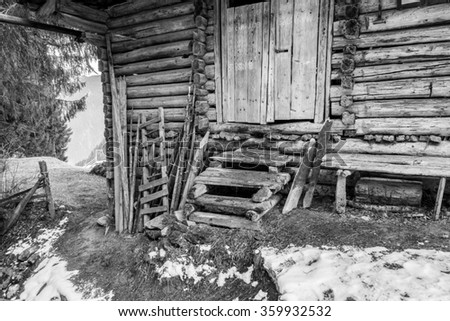 tyrolean mountain hut in black and white