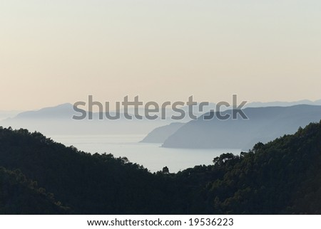 Tyrrhenian Sea. Looking from Bonassola toward Portofino at sunset