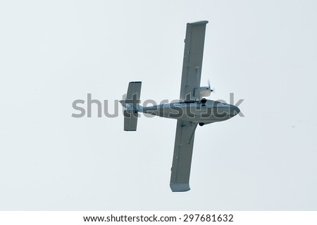 Tyumen, Russia - August 11, 2012: On a visit at UTair airshow in Plehanovo heliport. Flight of russian hydroplane SK-12 Orion - stock photo