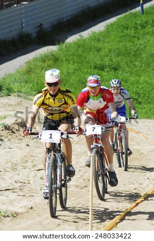 Tyumen, Russia - June 17, 2007: City cup on the mountain bicycle. Sport race - stock photo