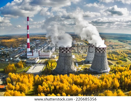 Tyumen, Russia - September 30, 2014: Aerial view on City Energy and Warm Power Factory - stock photo