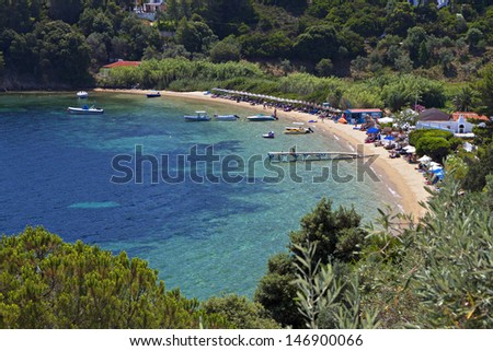 Tzaneria beach at Skiathos island in Greece - stock photo