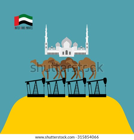 U.A.E. Structure. Sheikh Zayed mosque white is based on three camels. Camels stand on oil rigs. Oil pumps are on  desert. Infographics  United Arab Emirates.   - stock photo