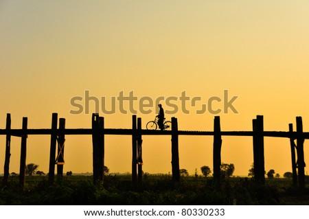 U bein bridge, Burma - stock photo