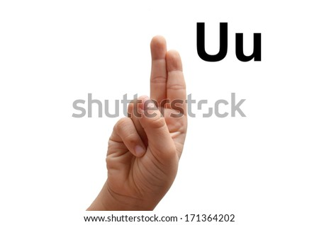 U kid hand spelling american sign language ASL - stock photo