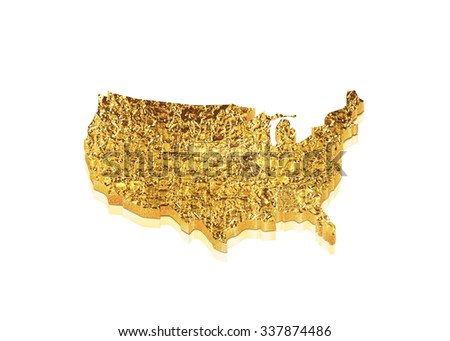 U.S.A 3D map in gold metal, symbol represented by a gold dimensional United States of America. - stock photo