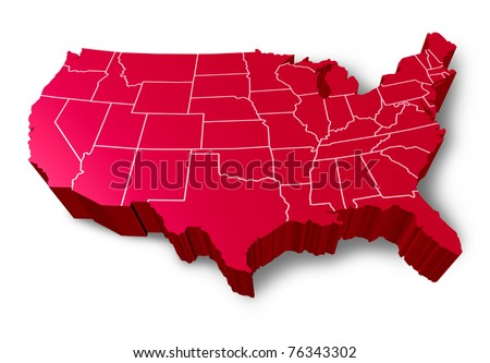 U.S.A 3D map symbol represented by a red dimensional United States. - stock photo