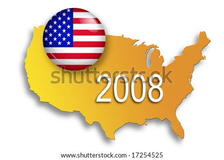 u.s.a. flag button over a map of united states - concept for presidential elections - stock photo