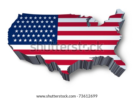 U.S.A. mapped flag in 3D representing politics and patriotism. - stock photo
