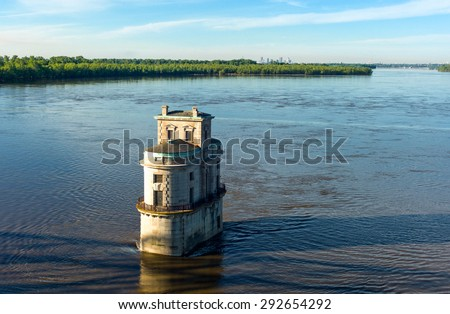 U.S.A. Missouri, St Louis area, Route 66, the water tower  on the Mississippi river seen from the Chain of Rocks bridge - stock photo