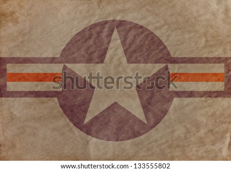 U.s. Aircraft Insignia on old paper. Background. - stock photo