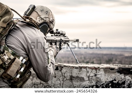 U.S. Army sniper during the military operation - stock photo