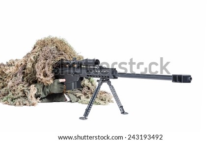 U.S. Army sniper wearing a ghillie suit - stock photo