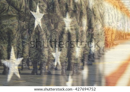 U.S Army with flag - stock photo