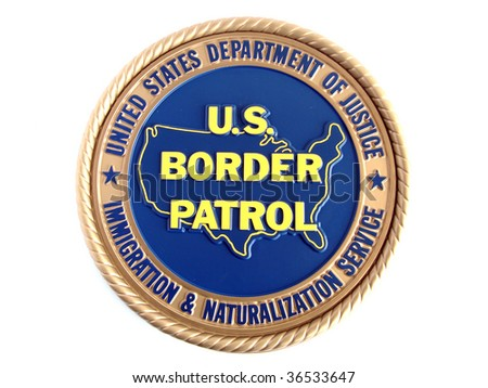 U.S. border patrol emblem. Isolated on white background. - stock photo